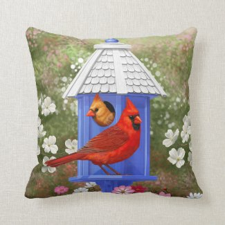 Cardinals and Blue Birdhouse Throw Pillows