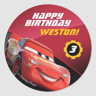 Cars Lightning McQueen | Birthday Classic Round Sticker