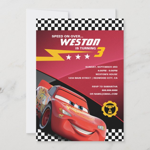 cars lightning mcqueen birthday invitation zazzle com