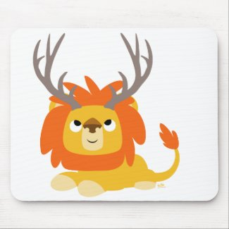 Cartoon Antlered Lion mousepad mousepad