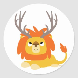 Cartoon Antlered Lion round sticker sticker