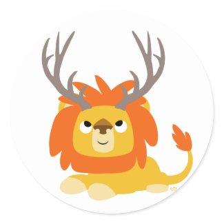 Cartoon Antlered Lion round sticker sticker