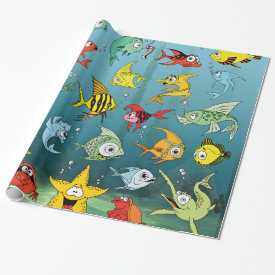 Cartoon Fish Underwater Wrapping Paper