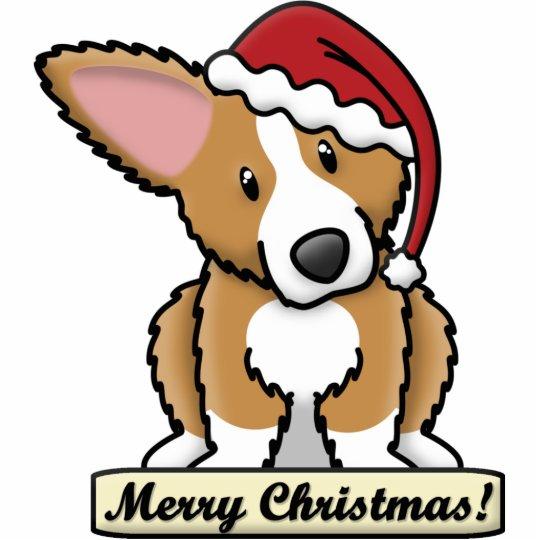 Cartoon Fluffy Corgi Christmas Ornament
