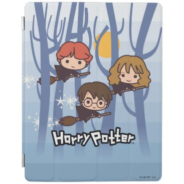 Cartoon Harry, Ron, & Hermione Flying In Woods iPad Smart Cover