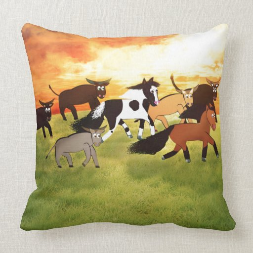 Cartoon Horses running with Bull's Throw Pillow