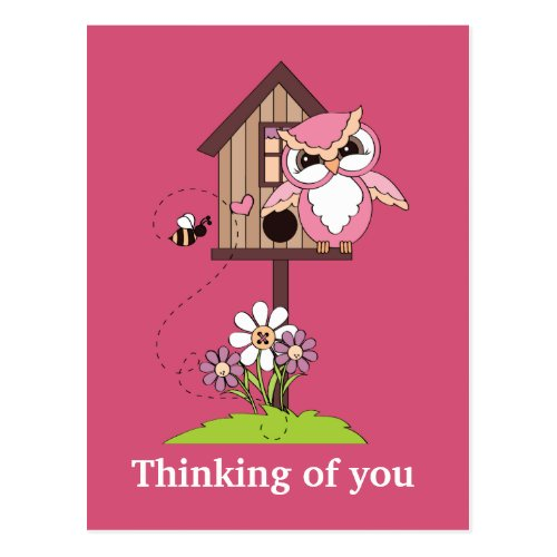 Cartoon owl Thinking of you postcard