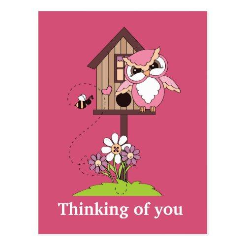 Cartoon owl Thinking of you postcard