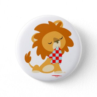 Cartoon Satiated Lion button badge button