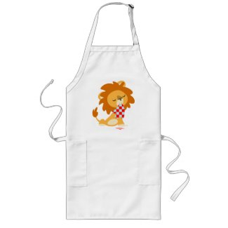 Cartoon Satiated Lion cooking apron apron