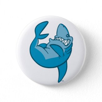 Cartoon Shark rolling back laughing Button button