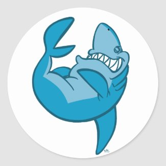 Cartoon Shark rolling back laughing Sticker sticker