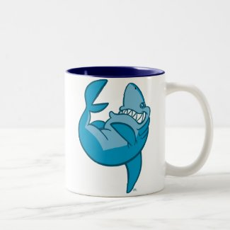 Cartoon Shark rolling laughing Mug mug