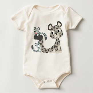 Cartoon Snow Leopard and Cubs Baby T-shirt shirt