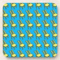 Cartoon Yellow Chair Plastic coasters w cork back | Zazzle