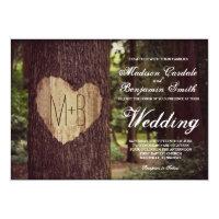 Carved Heart Rustic Tree Wedding Invitations
