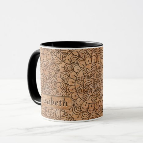 Carved Wood Floral Circles Mandala Personalized Mug