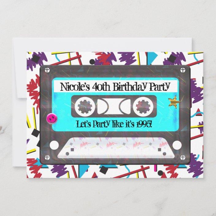 cassette tape retro 80 s 90 s theme birthday party invitation zazzle com