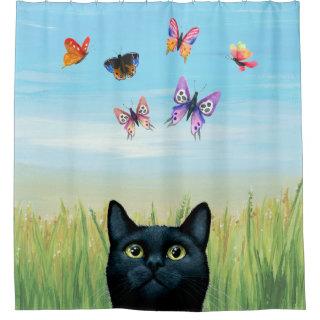 Cat 606 black Cat with butterflies Nature Shower Curtain