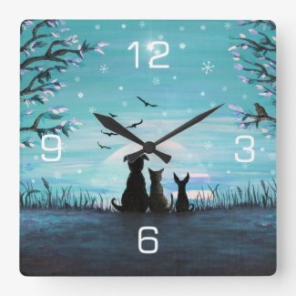 Cat and dogs Winter Sunset Square Wall Clock