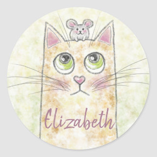 Cat and Mouse Illustration Classic Round Sticker