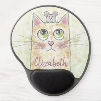 Cat and Mouse Illustration Gel Mouse Pad