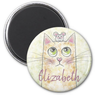 Cat and Mouse Illustration Magnet