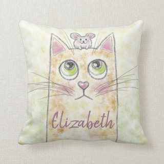 Cat and Mouse Illustration Throw Pillow