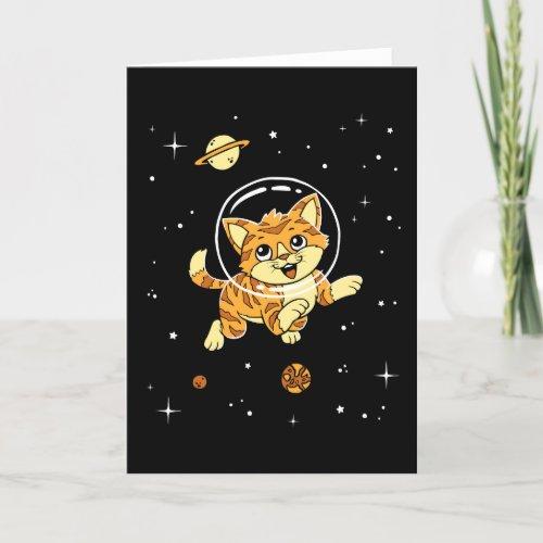 ❤️ Cat Animals In Space Card