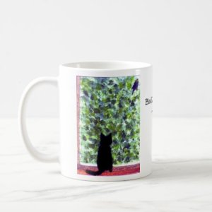Cat Art Black Cat Bird Watching! Coffee Mug
