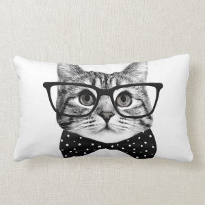 cat bow tie - Glasses cat - glass cat Lumbar Pillow