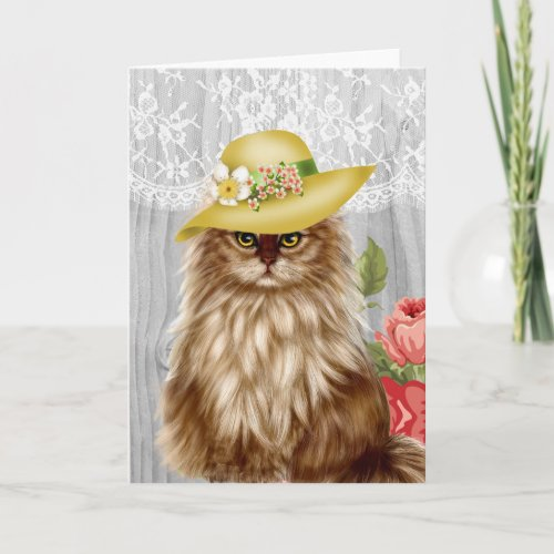 Cat dressed in hat notecard