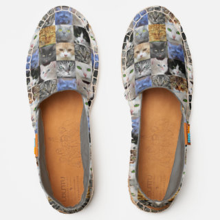 Cat Faces Collage Slip On Espadrilles
