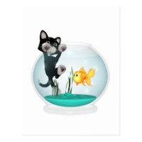 cat hanging on fishbowl postcard