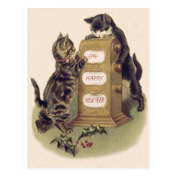 Cat Kitten Calendar Holly Postcard