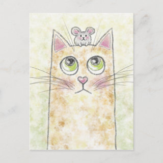 Cat Mouse Illustration Holiday Postcard