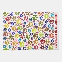 Cat Paw Print Pet Name Pattern Kitchen Towel | Zazzle