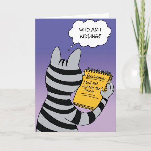 Cat Resolutions New Year Humor Card
