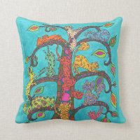 Cat Tree of Life Throw Pillow