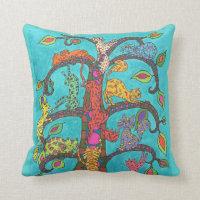 Cat Tree of Life Throw Pillow