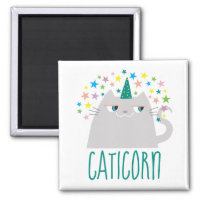 Cat White Unicorn Caticorn Colorful Stars Chic Magnet