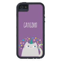 Cat White Unicorn Caticorn Colorful Stars Purple iPhone SE/5/5s Case
