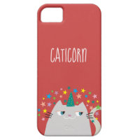 Cat White Unicorn Caticorn Colorful Stars Red Chic iPhone SE/5/5s Case