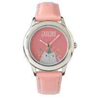 Cat White Unicorn Caticorn Stars Pink Chic Watch