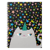 Cat White Unicorn Stars Colorful Magic Cute Wizard Notebook