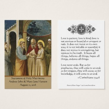 Catholic Wedding Prayer Favor Holy Card