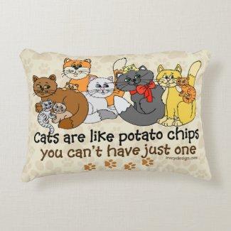 Cats are like potato chips decorative pillow