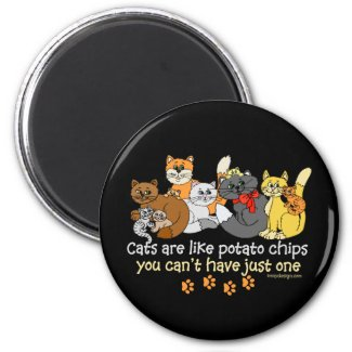 Cats are like potato chips fridge magnet