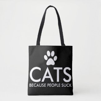 Cats Because People Suck Paw Print Tote Bag