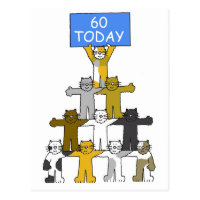 Cats celebrating 60th Birthdays. Postcard